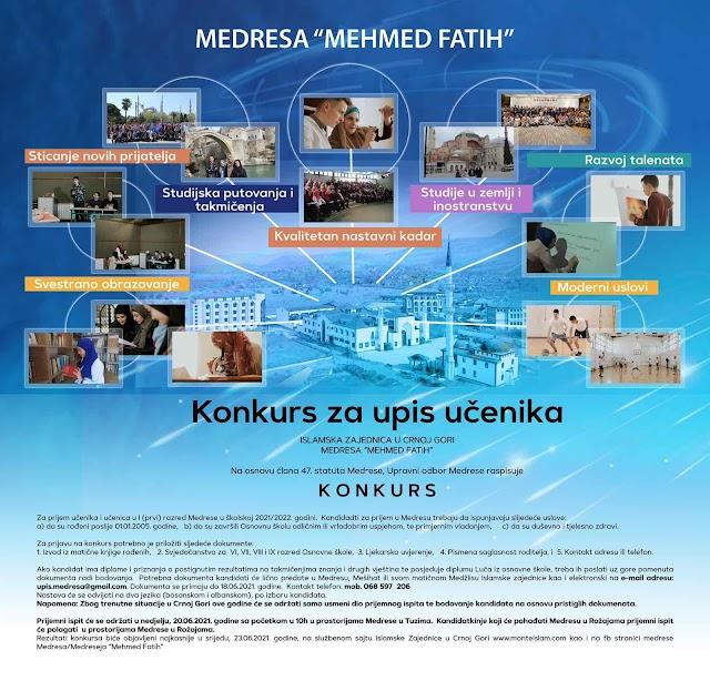 """Medresa """"Mehmet Fatih"""" raspisala konkurs za prijem novih učenika"""