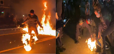 100 Days of Portland Riots- Molotov Cocktails thrown Form Fire; One Man Catches Fire