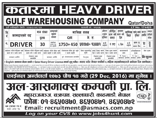 Jobs in Doha Qatar for Nepali, Salary Rs 65,715
