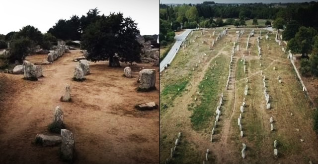 Aerial film of the mysterious megalithic alignments in Carnac, France  Mystery-megalithic-alignments-carnac-france