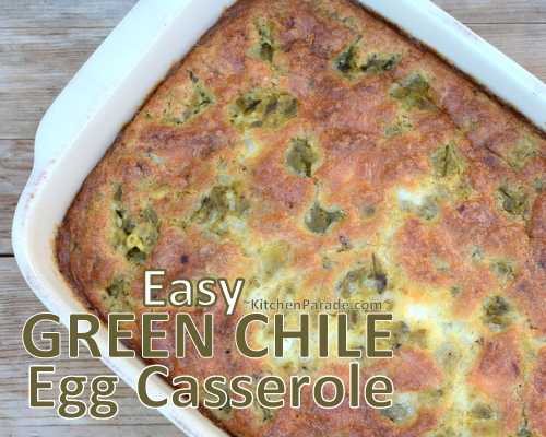 Easy Green Chile Egg Casserole ♥ KitchenParade.com, no bread, just eggs, green chiles, bits of cheese and a surprising ingredient, cottage cheese. Vegetarian. Low Carb. High Protein. Weight Watchers Friendly!