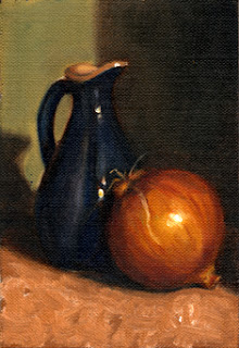 Oil painting of a brown onion beside a blue porcelain sauce jug.