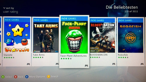 Xbox Dashboard of best rated indie games