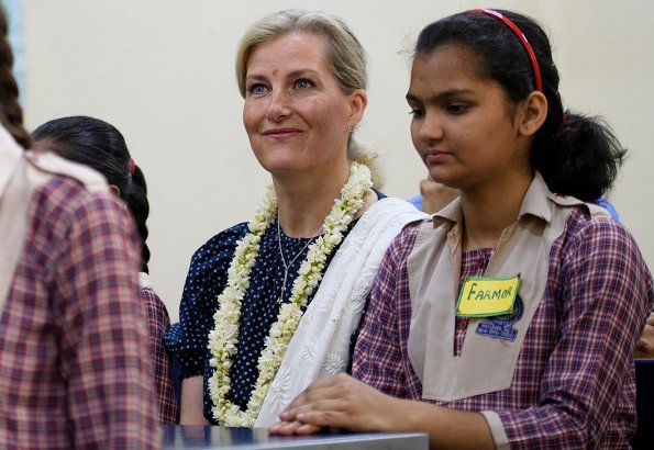 Countess Sophie wore ARoss Girl printed dress in cotton polka dot in navy. Girls Senior Secondary institution