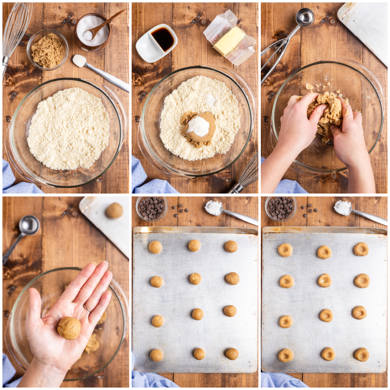 Six process photos of how to make Keto Chocolate Thumbprint Cookies.