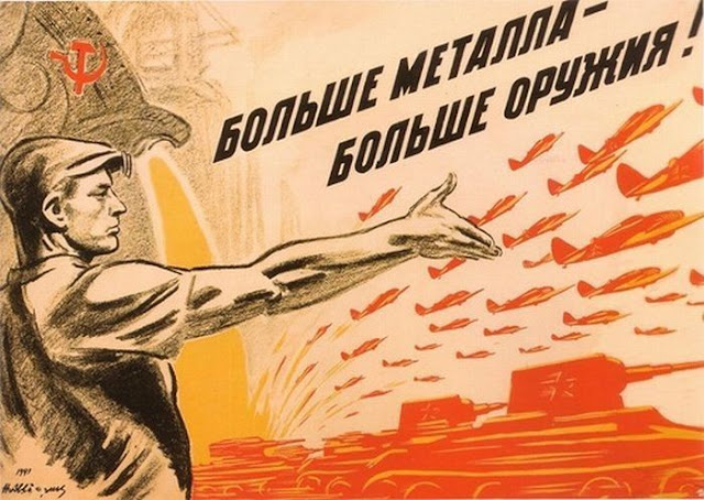 Больше металла - больше оружия! Soviet military posters of times of World War II. More metal is more weapons!