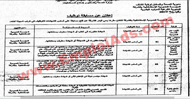 اعلان مسابقة توظيف بالمؤسسة العمومية الاستشفائية الشرفة ولاية الشلف جوان 2017