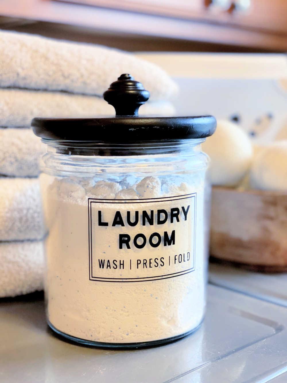 laundry room jar with cricut vinyl