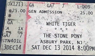 Ticket stub for White Tiger Reunion at The Stone Pony December 13, 2014. Too fuckin' cool right!!