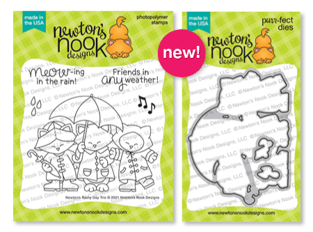 Newton's Rainy Day Trio Stamp Set and coordinating die set by Newton's Nook Designs
