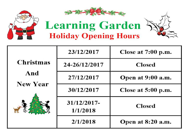 Learning Garden Holiday Opening Hours