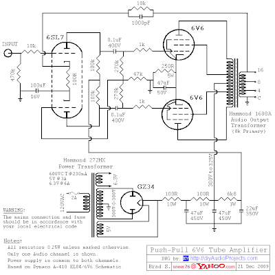 Hammond-Transformers-6V6-Push-Pull-Tube-Amplifier-Circuit Hammond Transformers Wiring Diagram on