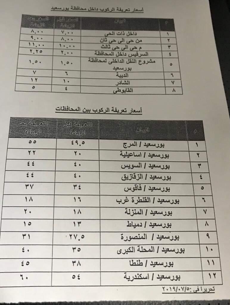 ننشر التعريفه الجديده للمواصلات داخل وبين المدن المصرية بعد زياده اسعار الوقود بجميع المحافظات FB_IMG_1562322230754