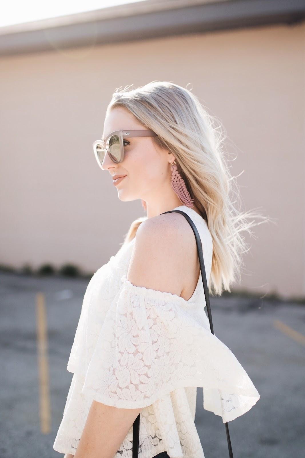 pink tassel earrings, Le Specs 'liar liar' sunglasses