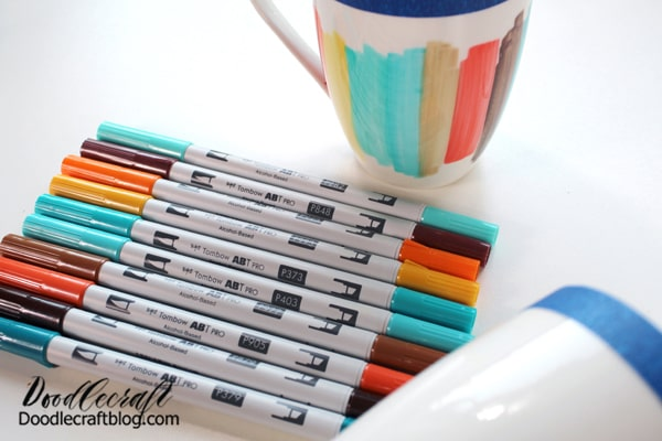 Repeat the patches of color all around the mug. Don't over think this process. The marker lines are charming! Embrace the randomness of the color blocking and the organic feel the marker lines give the finish.