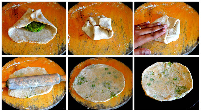 Matar ka paratha/Stuffed Green peas paratha (No Onion No Garlic)