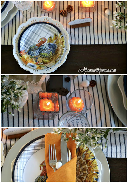 Thanksgiving, white, blue, natural, pumpkin, plates, athomewithjemma.com