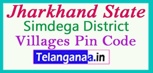 Simdega District Pin Codes in Jharkhand State