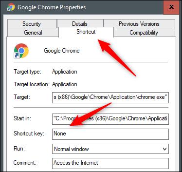لا يوجد مفتاح اختصار لـ Google Chrome