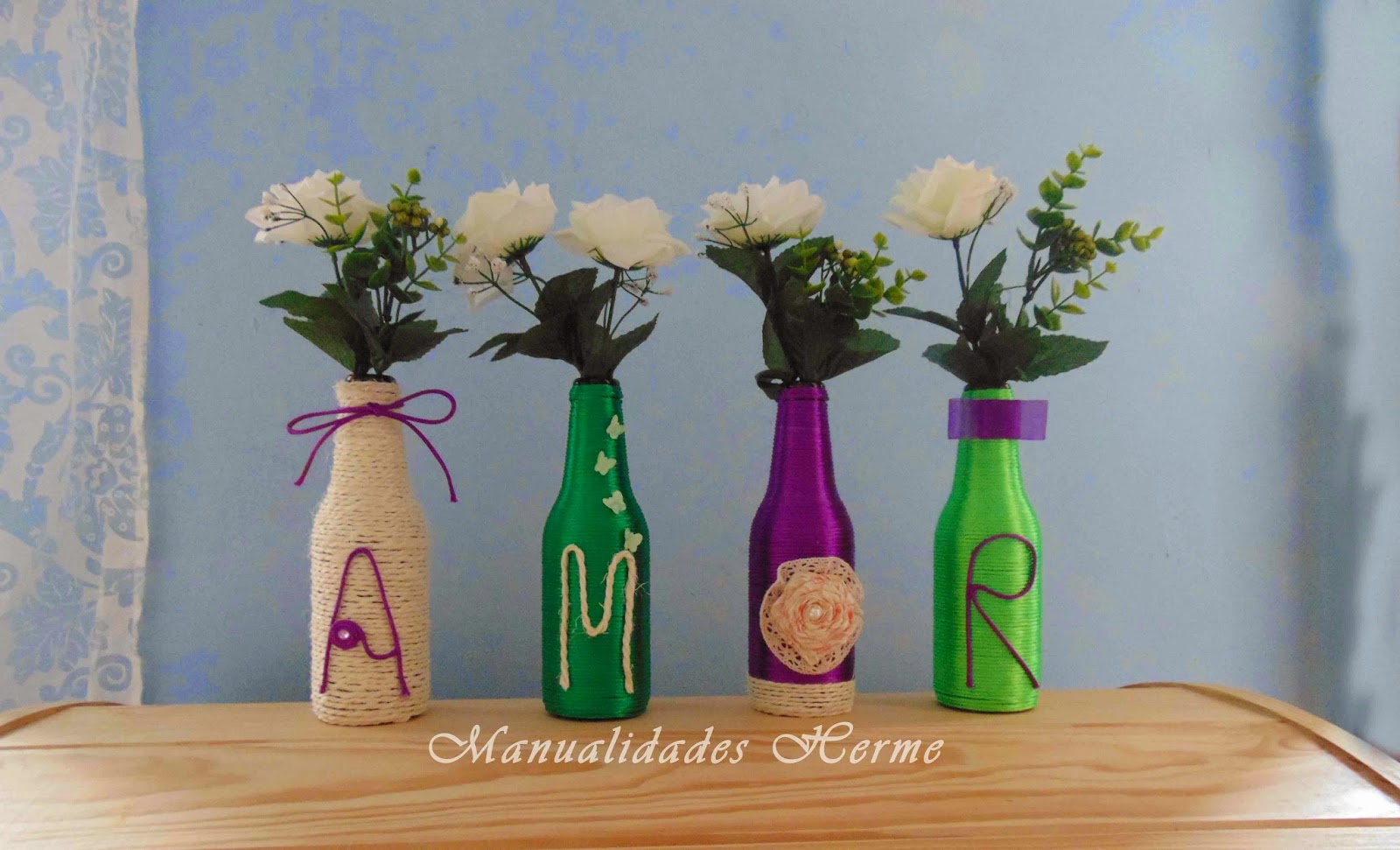 Manualidades herme diy decorar botellas de vidrio - Decoracion con cuerdas ...