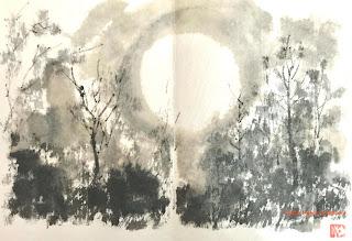A Sumi-e Sketch from the Hill by Fumiyo Yoshikawa
