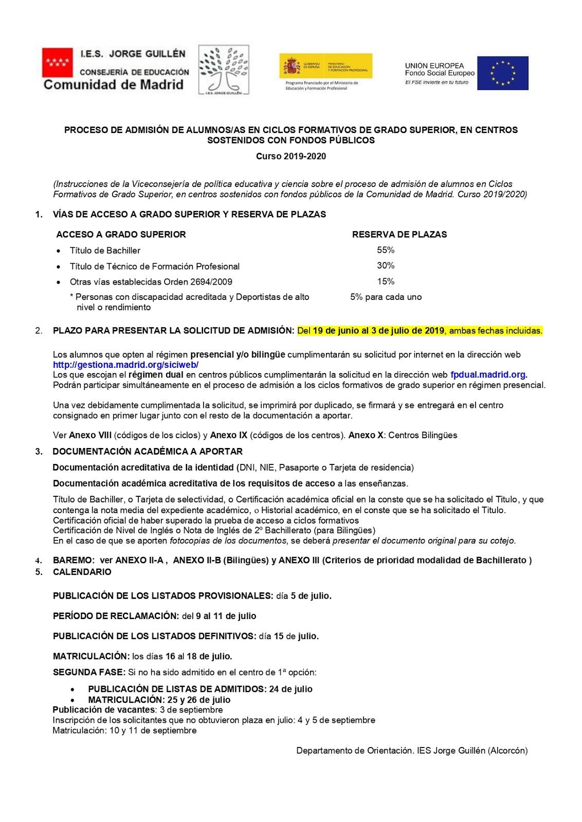 Departamento De Orientación Del Ies Jorge Guillén Junio 2019