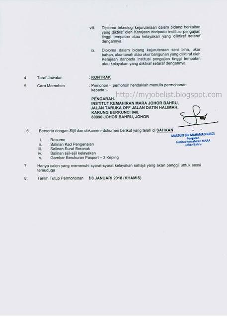 Jawatan Kosong Institut Kemahiran Mara (IKM) Januari 2018