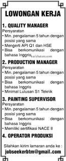 Lowongan Kerja Quality Manager dan Operator Produksi