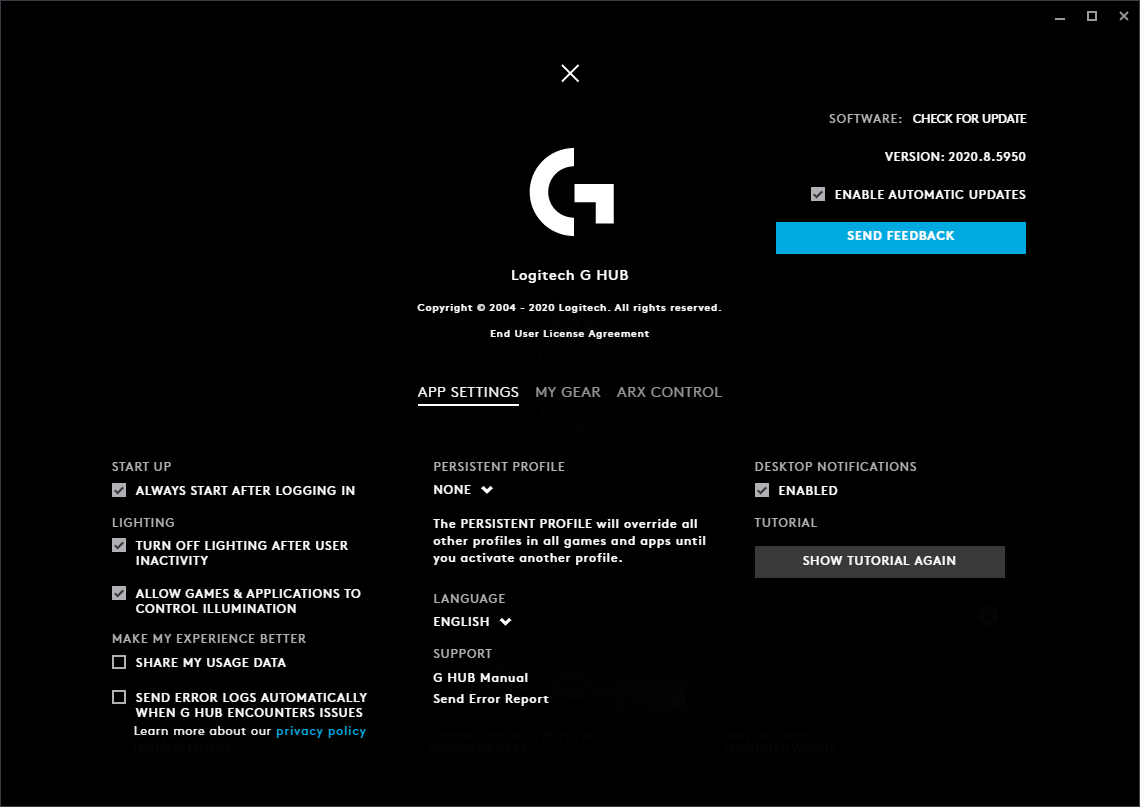Logitech G Hub 2020.8.5950