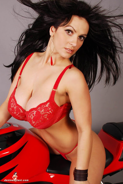 Denise-Milani-Bike-Photoshoot-in-red-hot-bikini-picture-11