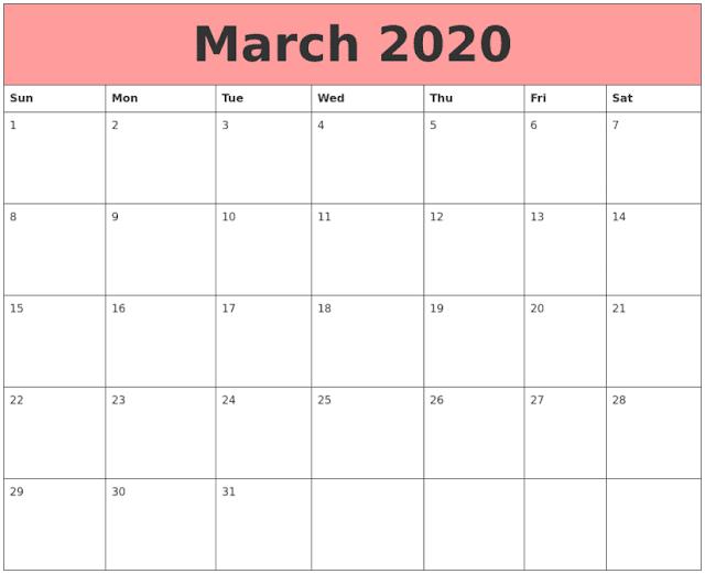 Calendario en lineas de marzo 2020