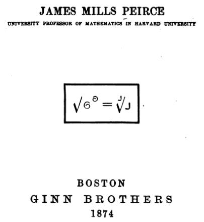 Notação de Peirce ilustrada na capa de Three and Four Place Tables, de 1874
