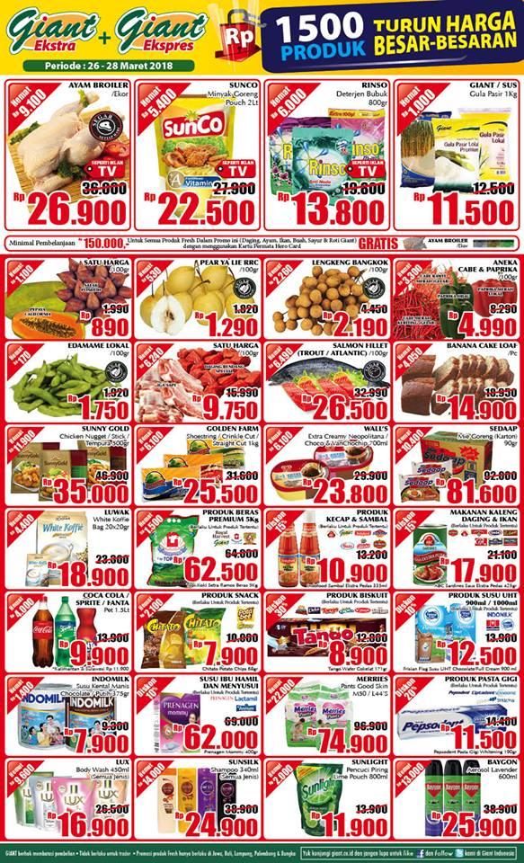 Katalog Harga Promo GIANT Ekstra & Ekspres WEEKDAY 26 - 28 Maret 2018