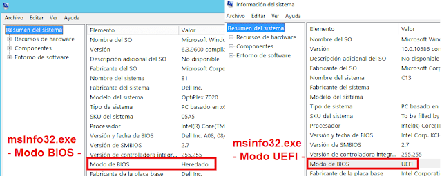 Vista msinfo32: Windows: UEFI o legacy (BIOS)