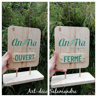 Pancarte signalétique en bois sur mesure pour la boutique Anna bio et vrac à Conflans Sainte Honorine