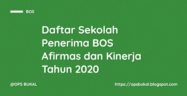 Daftar Sekolah Penerima BOS Afirmasi dan BOS Kinerja Tahun 2020