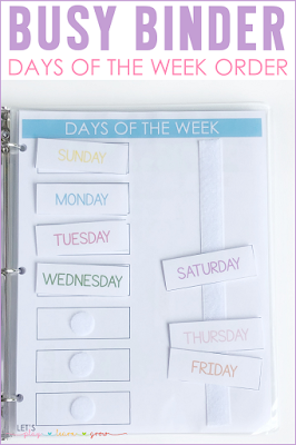 Days of the Week Order Busy Binder