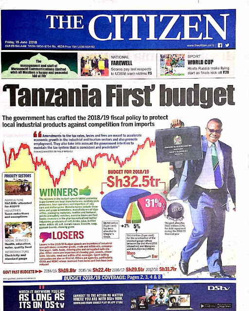 Tanzanian Today's Newspapers MAGAZETI YA LEO Friday 15th June, 2018