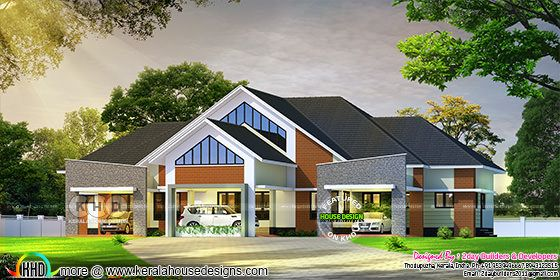 Rendering of semi contemporary house with colonial touch