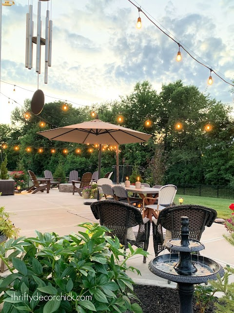 Long cement patio with cafe lights