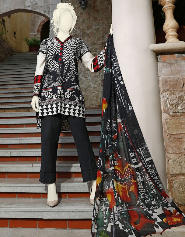 J. Junaid jamshed winter unstitched Black color printed cambric suit with chiffon dupatta cloths collection