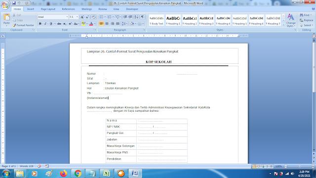 Contoh Format Surat Pengusulan Kenaikan Pangkat Guru PNS