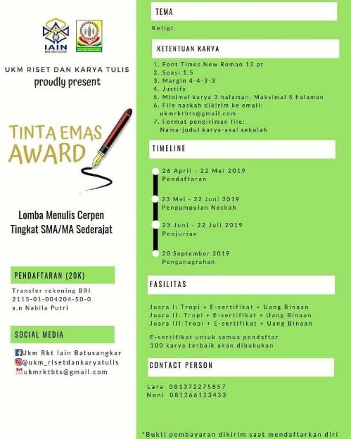 Lomba Menulis Cerpen Nasional 2019 di IAIN Batusangkar