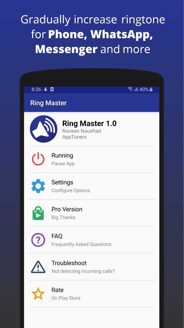Ring Master to gradually increase the ringtone of your Android phone
