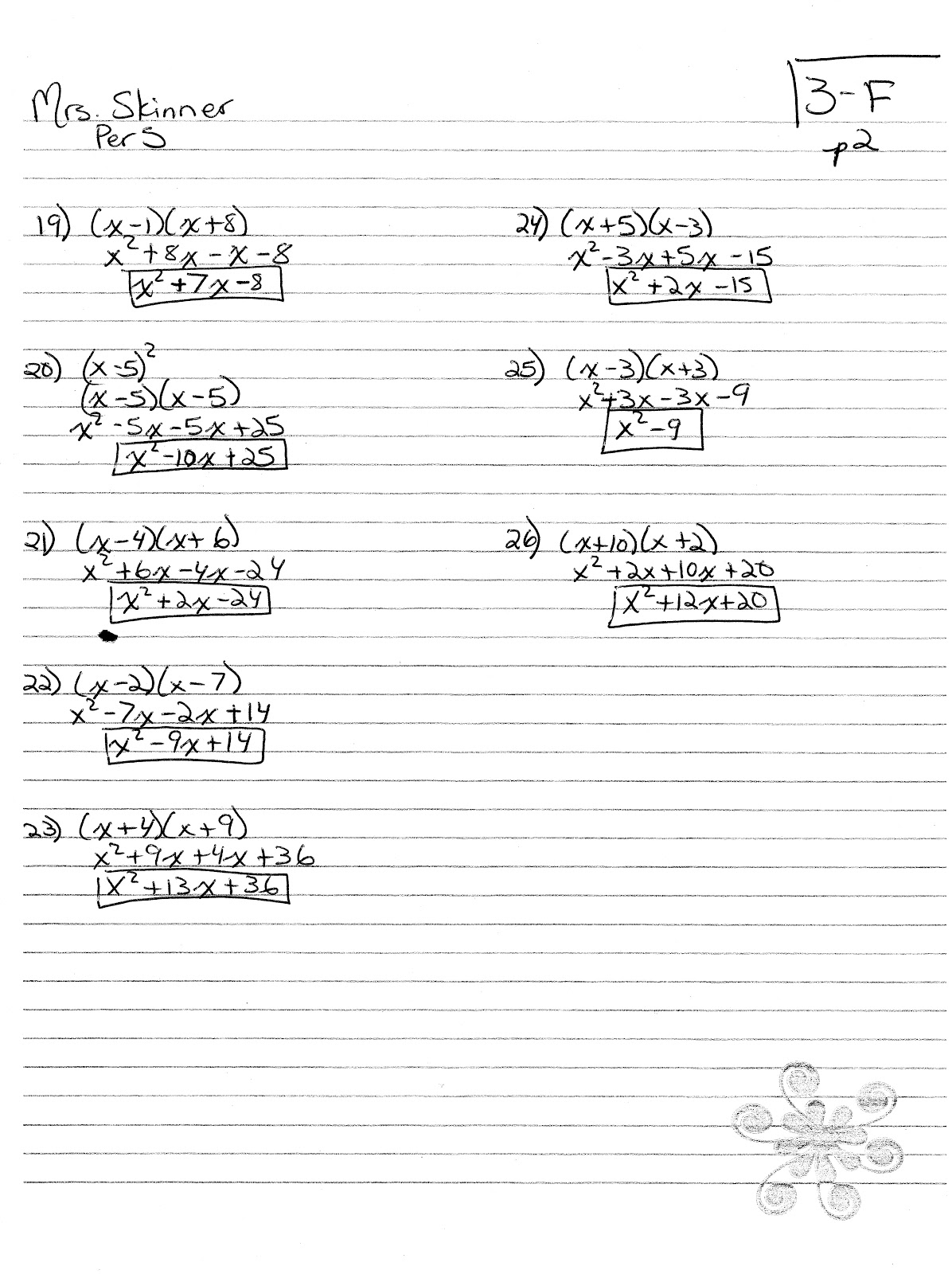 Iroquois Algebra Blog Multiplying Binomials Hw Answer Key