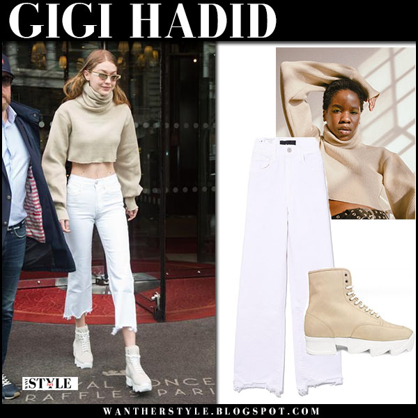 Gigi Hadid in beige cropped sweater orseund iris and white cropped jeans 3x1 street fashion march 28