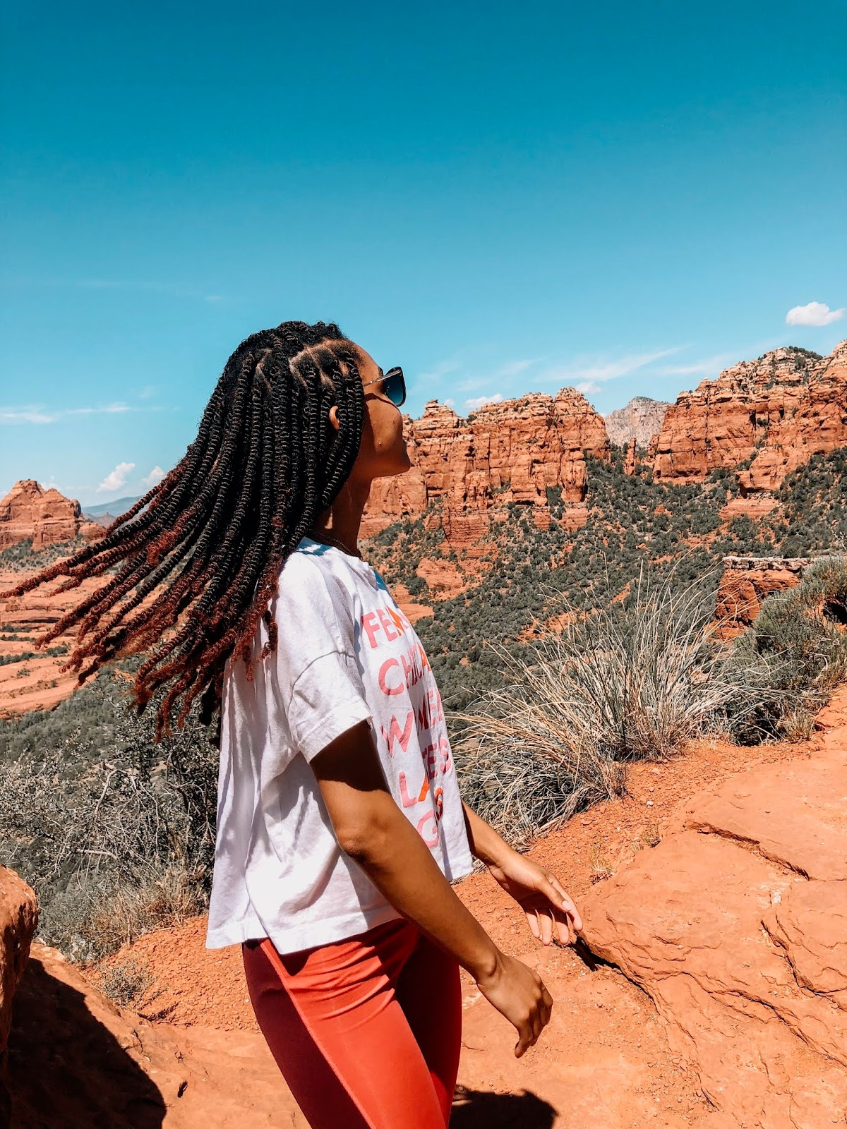 Hair Flip during Jeep Tour Marley Twists with Hiking Outfit from Nike