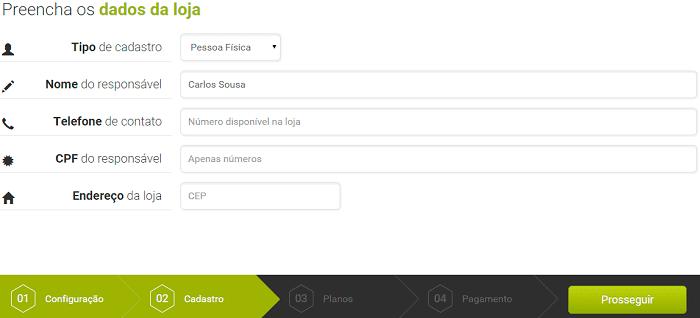 dados da loja virtual gratuita