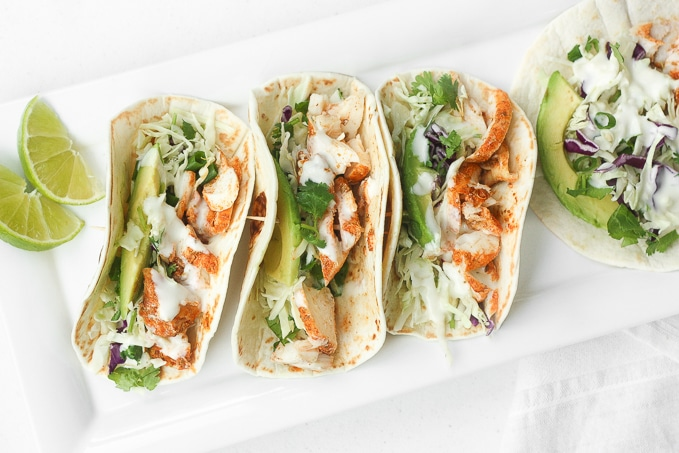 EASY FISH TACOS WITH LIME CREMA #tacos #fish #dinner #healthyrecipes #easy