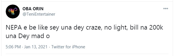 '...una dey craze' Teni Fumes As NEPA Gives Her ₦200,000 Bill Without Light